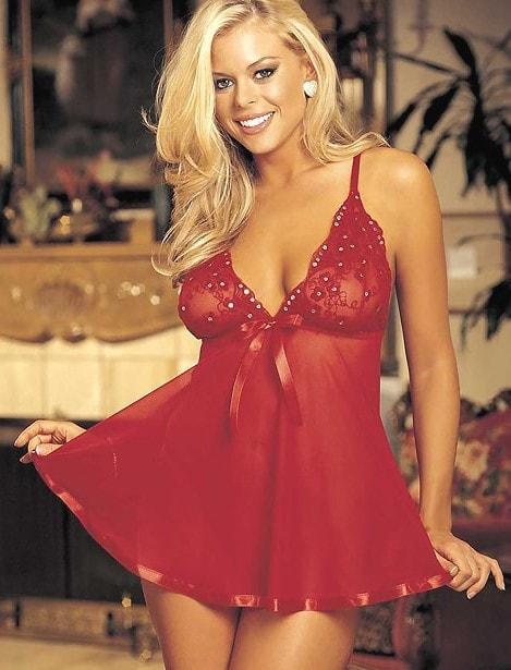 Sequins & Lace Babydoll Nightie
