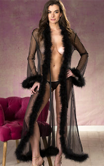 Long Fluffy Feather See-thru Robe