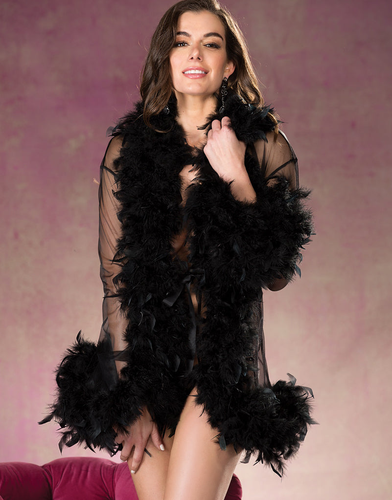 Ultra Fluffy Feather See-thru Robe