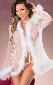 Sheer & Feather See-thru Robe