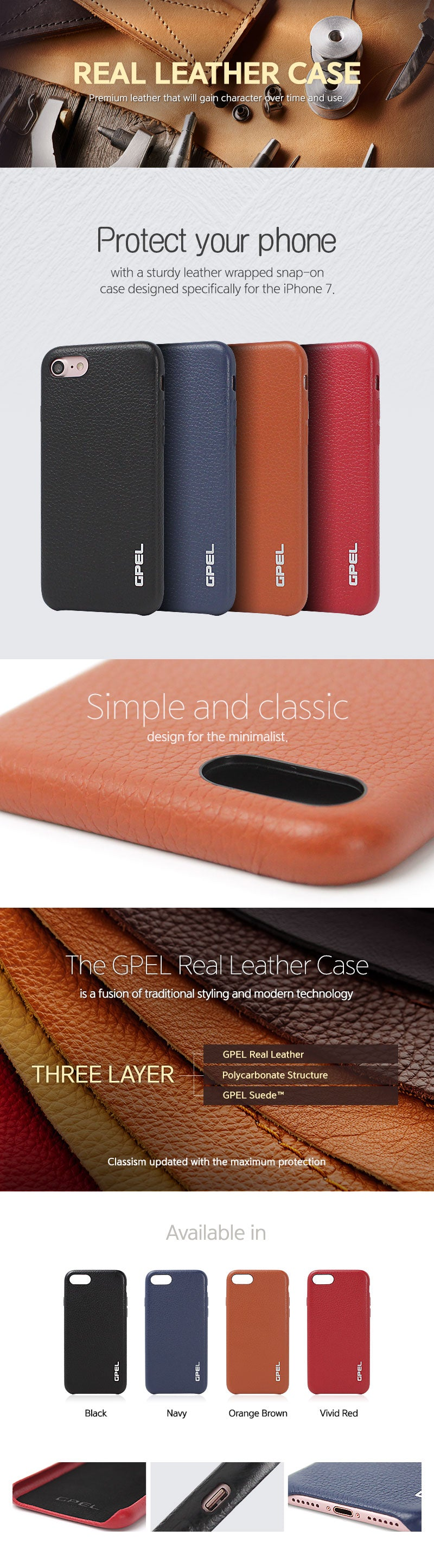 iPhone 7 Real Leather Case
