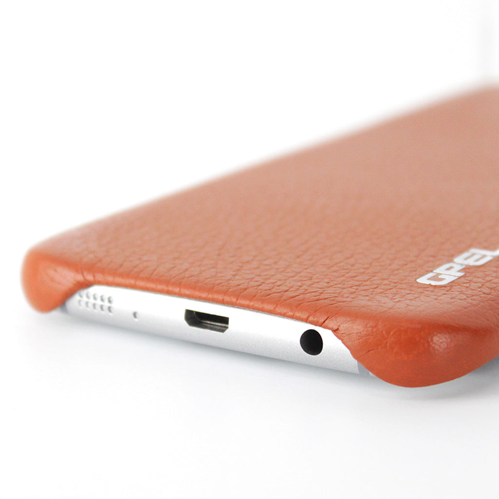 Galaxy S7 Edge Case GPEL Real Leather - Orange Brown