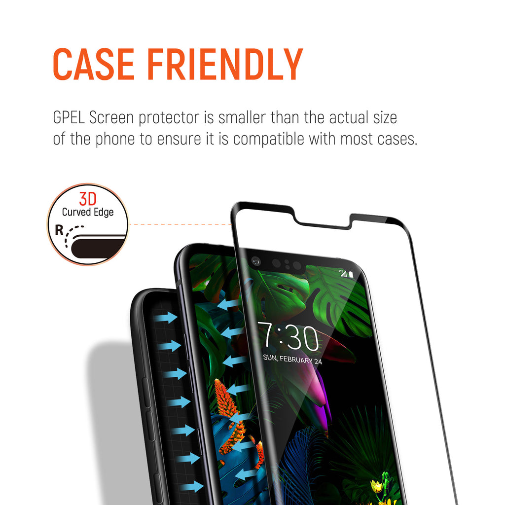 LG G8 ThinQ Screen Protector [2-Pack], Tempered Glass, Full Screen Case Friendly