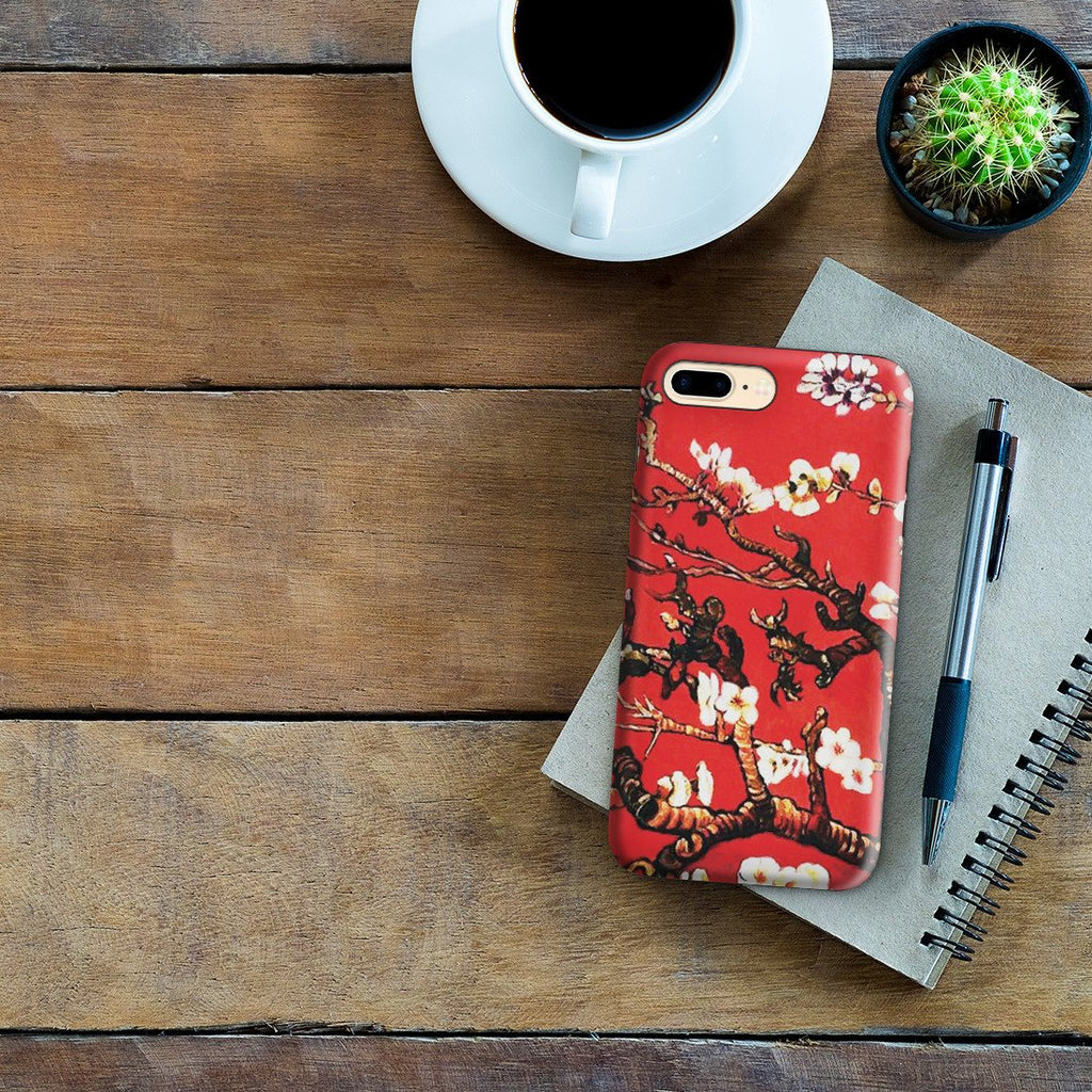 iPhone 8 Plus Adventure Case - Branches of an Almond Tree in Blossom, Ruby Red by Vincent Van Gogh