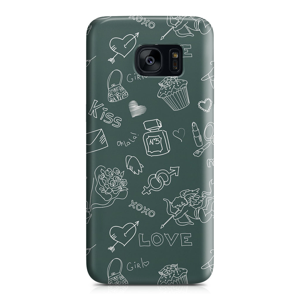 Galaxy S7 Edge Case - Love Doodles