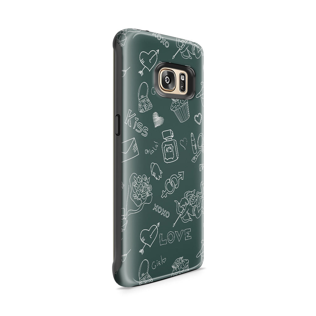 Galaxy S7 Edge Adventure Case - Love Doodles
