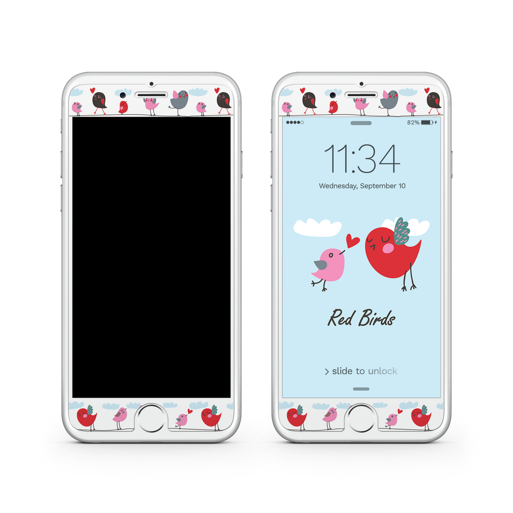 iPhone 7 Plus Vivid Glass Screen Protector - Red Birds