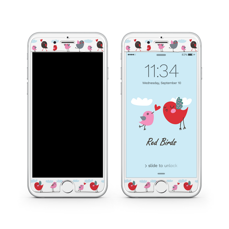 iPhone 7  Vivid Glass Screen Protector - Red Birds