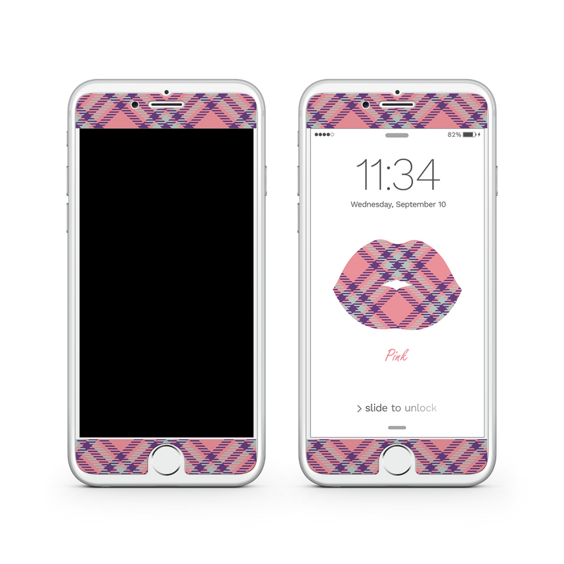 iPhone 7 Plus Vivid Glass Screen Protector - Pink Kisses