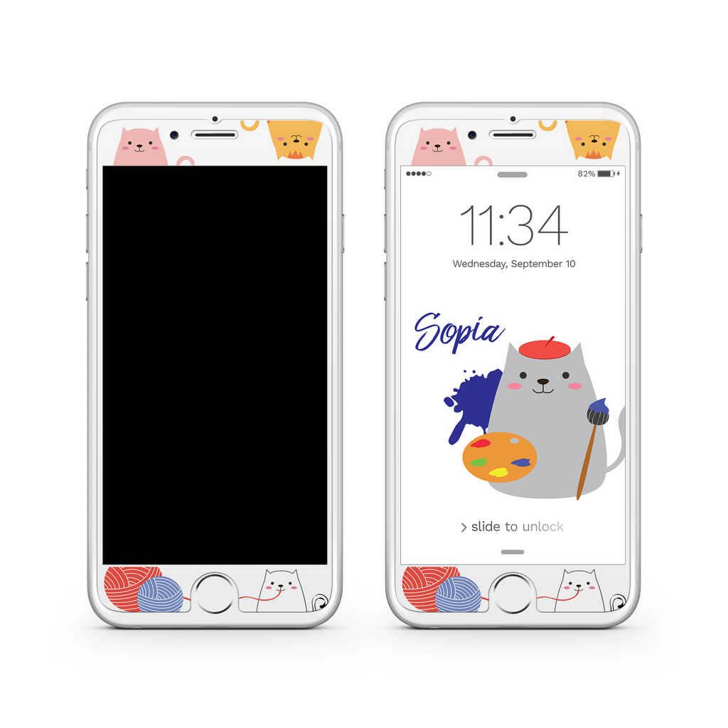 iPhone 7  Vivid Glass Screen Protector - Cat Artist