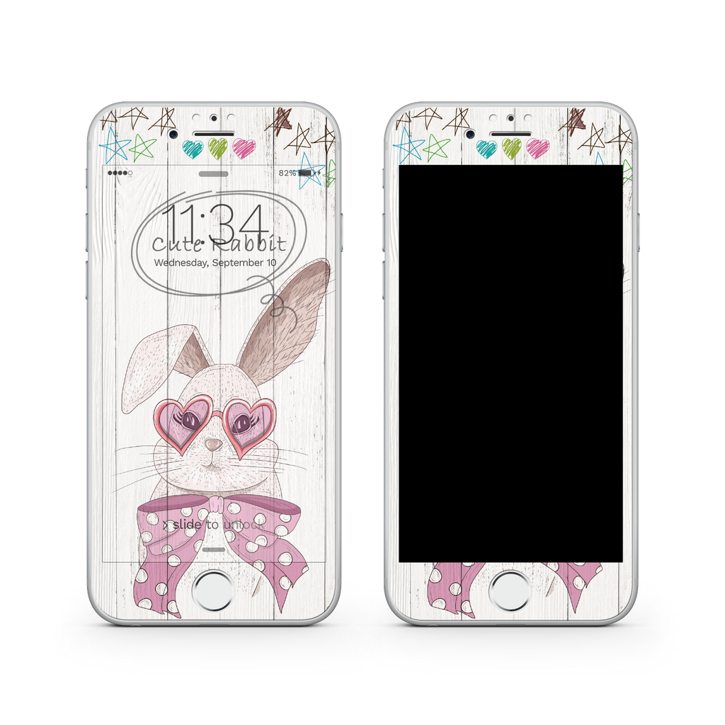 iPhone 7 Plus Vivid Glass Screen Protector - Cute Rabbit