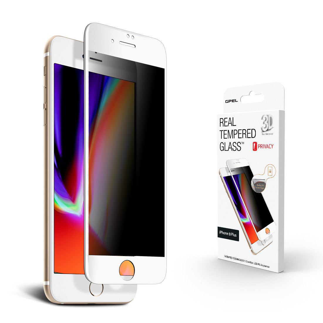 the latest 1c4b0 a8482 iPhone 8 Plus Screen Protector - Privacy 3D Curved Tempered Glass