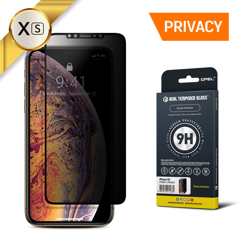 iPhone XS Privacy Real Tempered Glass Screen Protector