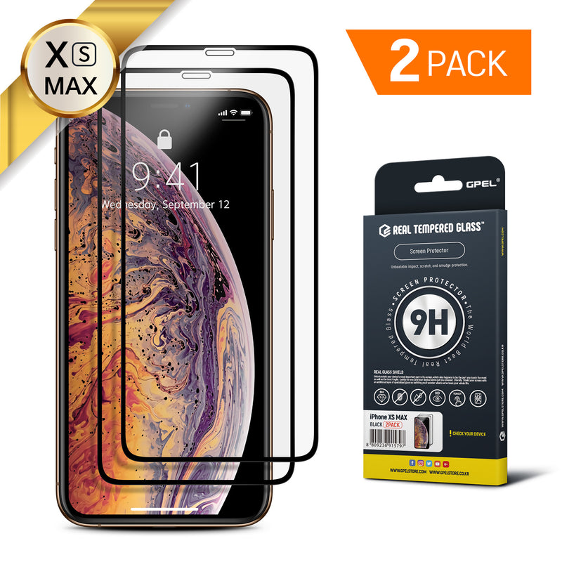 iPhone XS Max Real Tempered Glass Screen Protector - 2 Pack