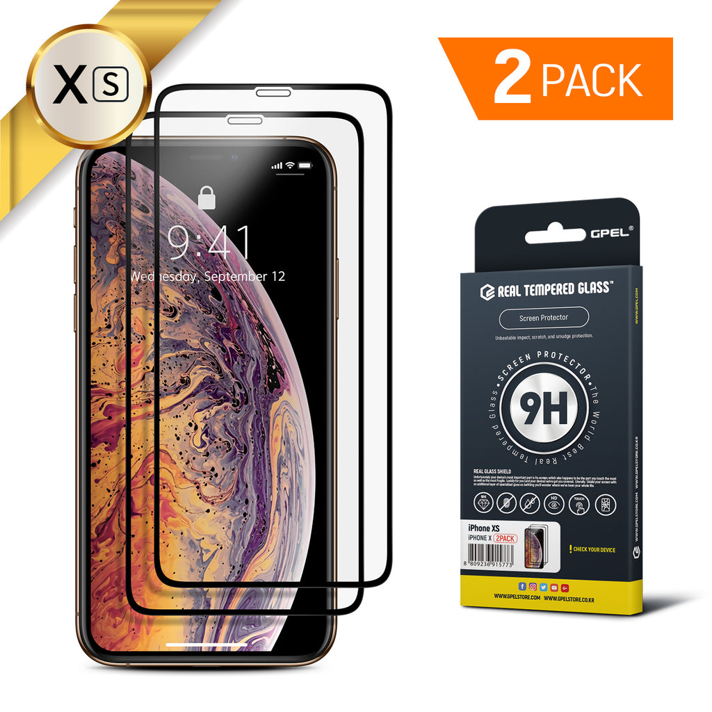 iPhone XS Real Tempered Glass Screen Protector - 2 Pack