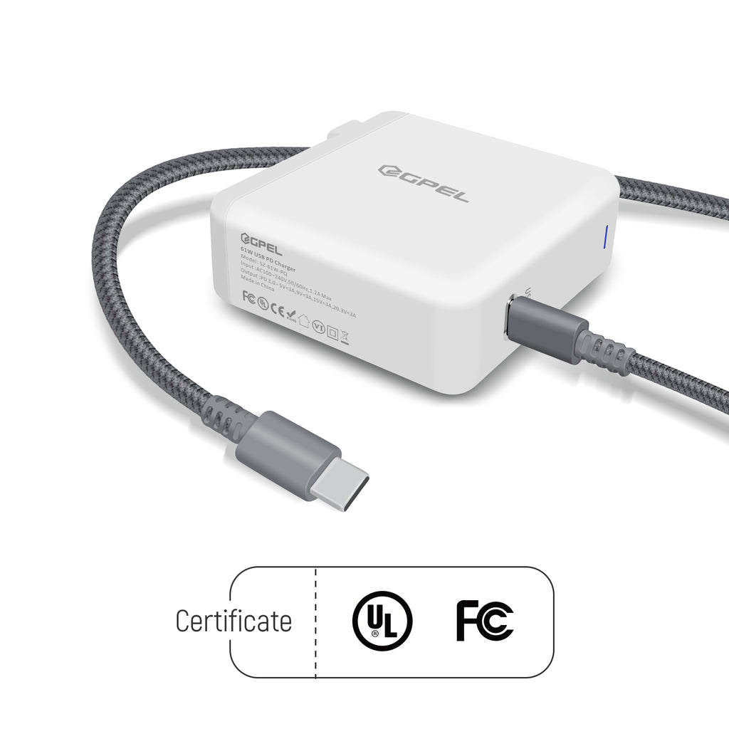 61W USB C Charger PD(Power Delivery) 3.0/ QC 3.0 Fast Charger