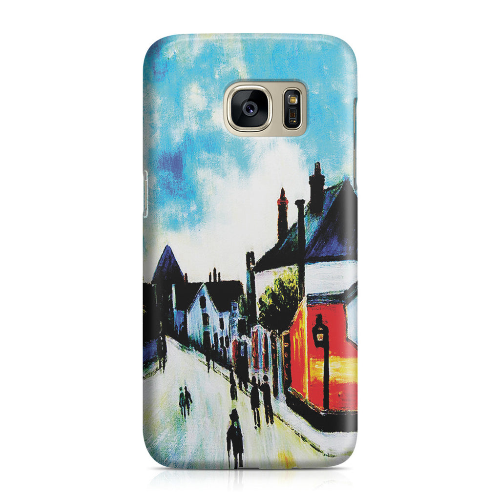 Galaxy S7 Case - Street In Moret (Porte de Bourgogne from across the Bridge) by Alfred Sisley