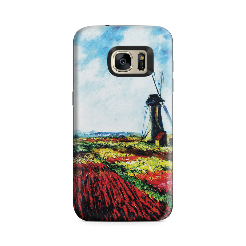 Galaxy S7 Adventure Case - Tulip Field with the Rijnsburg Windmill by Claude Monet