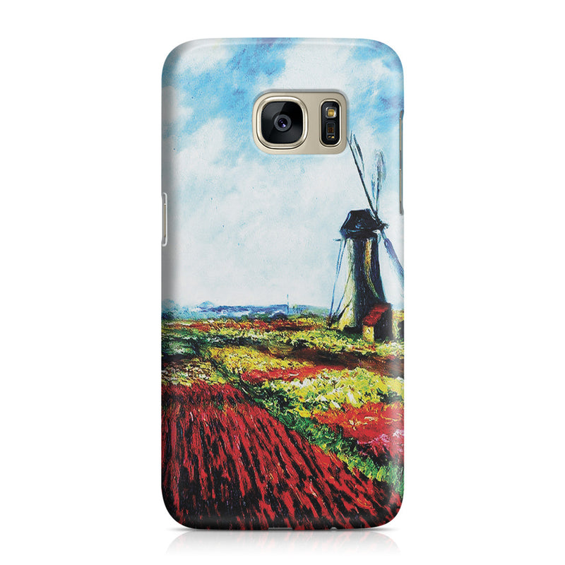 Galaxy S7 Case - Tulip Field with the Rijnsburg Windmill by Claude Monet
