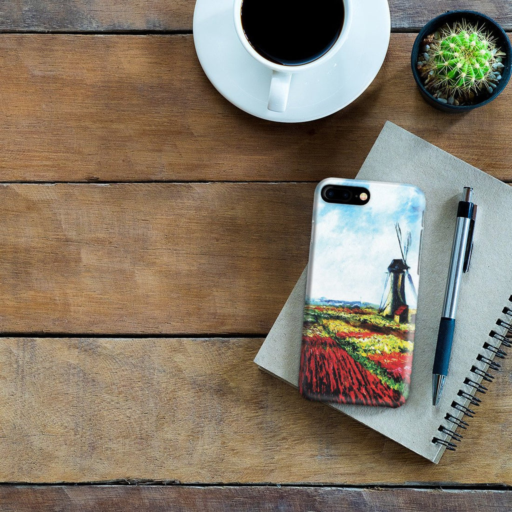iPhone 8 Plus Case - Tulip Field with the Rijnsburg Windmill by Claude Monet
