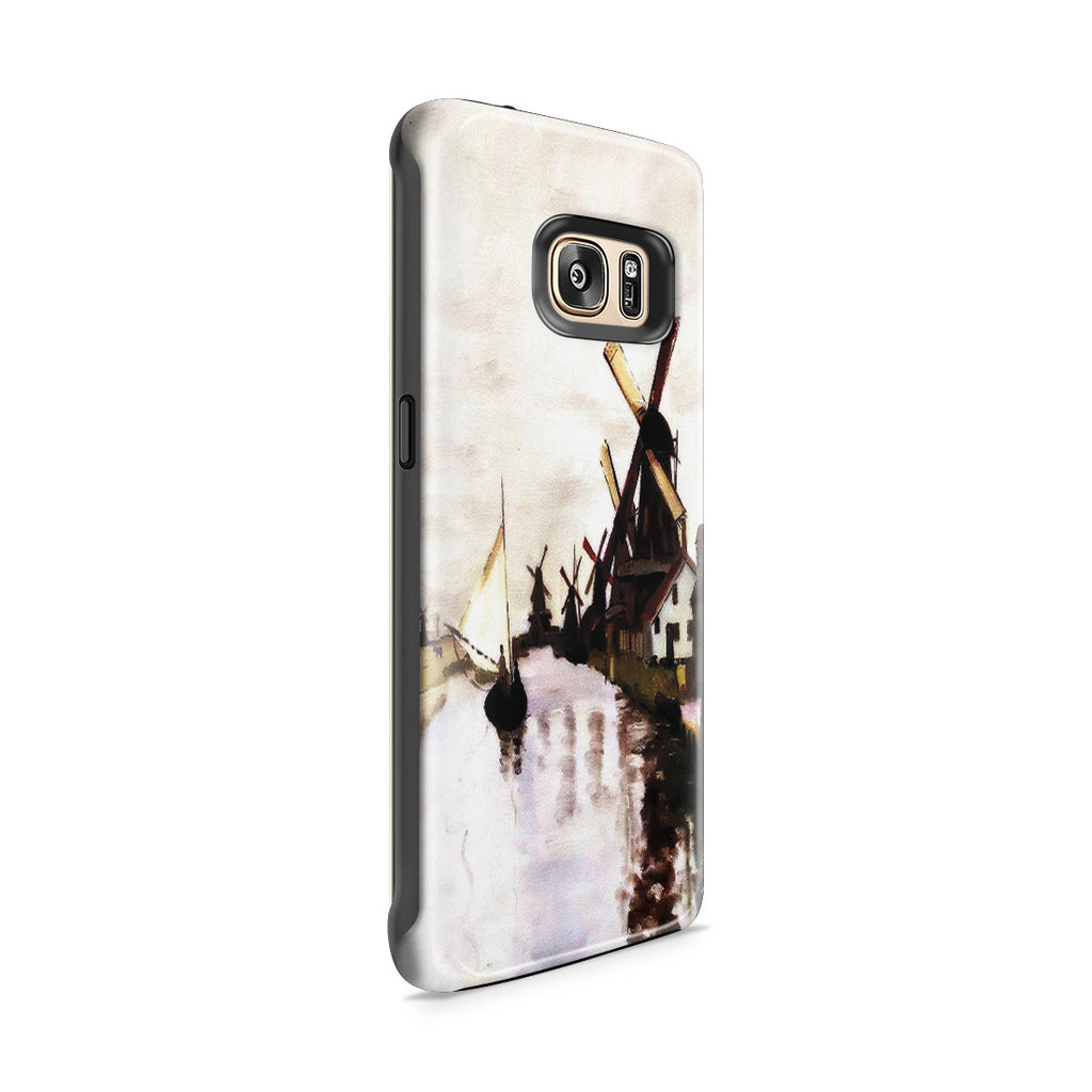 Galaxy S7 Edge Adventure Case - Windmills In Holland by Claude Monet