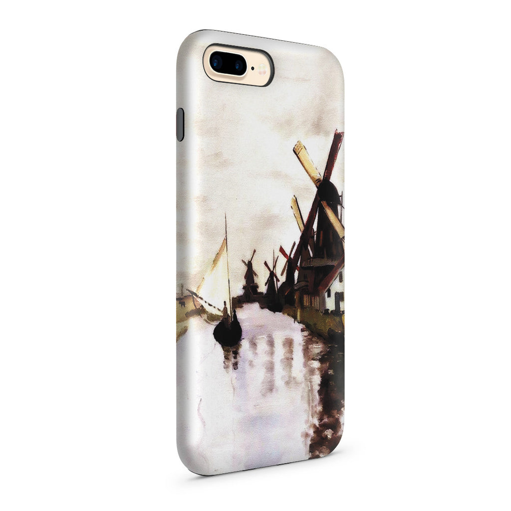 iPhone 7 Plus Adventure Case - Windmills In Holland by Claude Monet