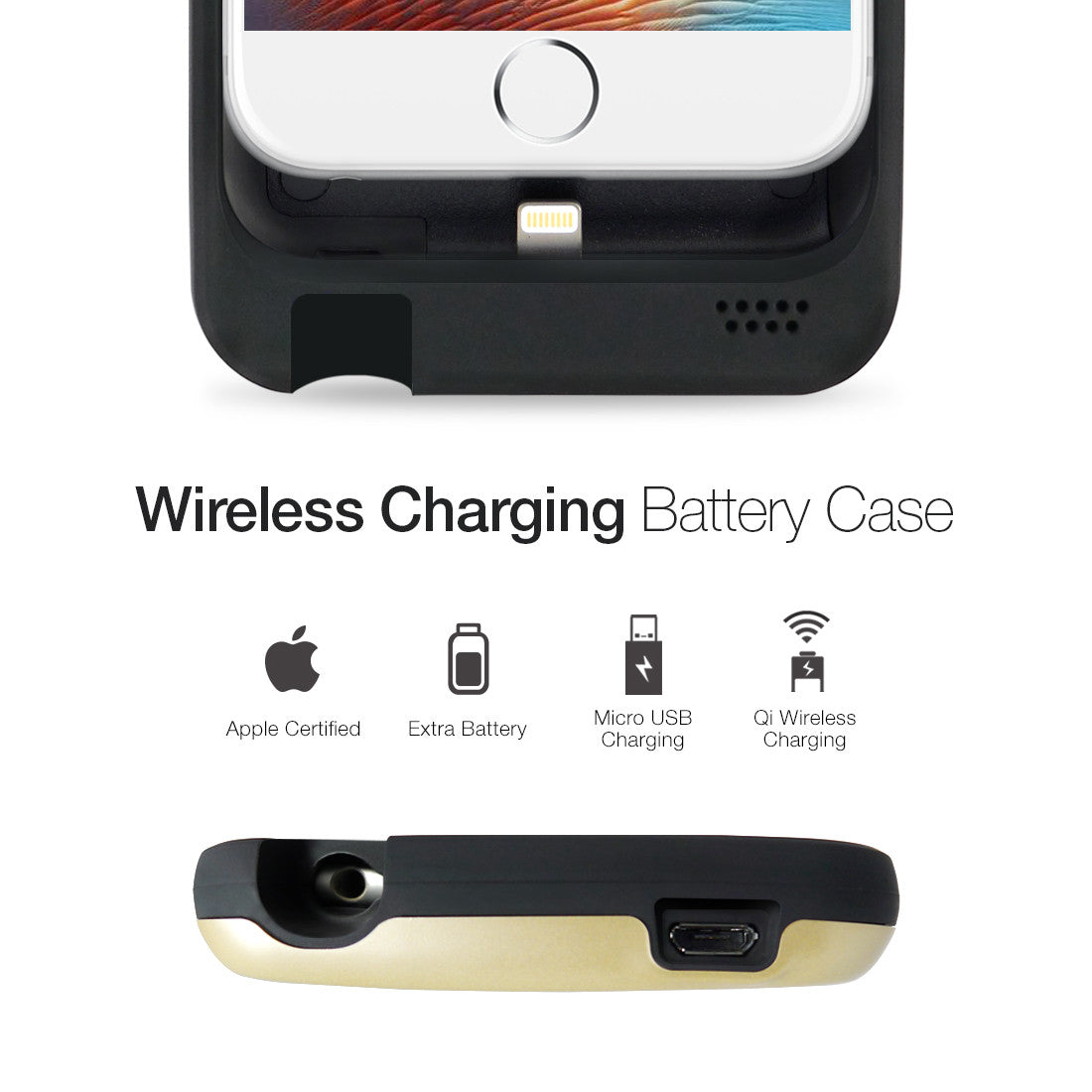 detailed pictures d3f17 e3b3f iPhone 6|6S Wireless Qi Charging Extended Battery Case