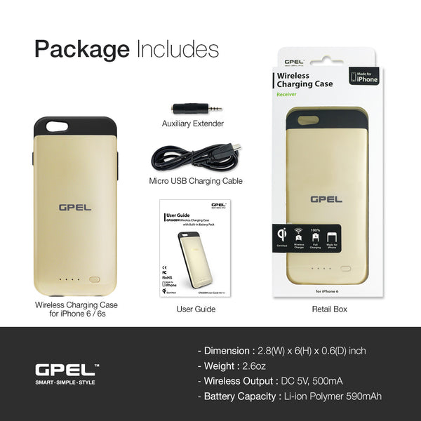 iphone 6 6s wireless qi charging extended battery case gpel. Black Bedroom Furniture Sets. Home Design Ideas