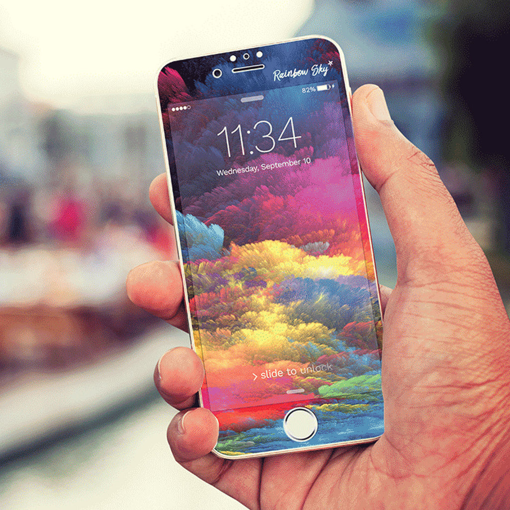iPhone 7 Vivid Glass Screen Protector - Rainbow Sky