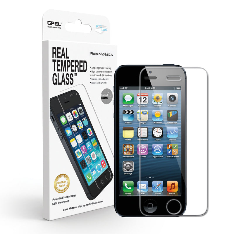 iPhone SE / 5 / 5S / 5C Screen Protector - Real Tempered Glass