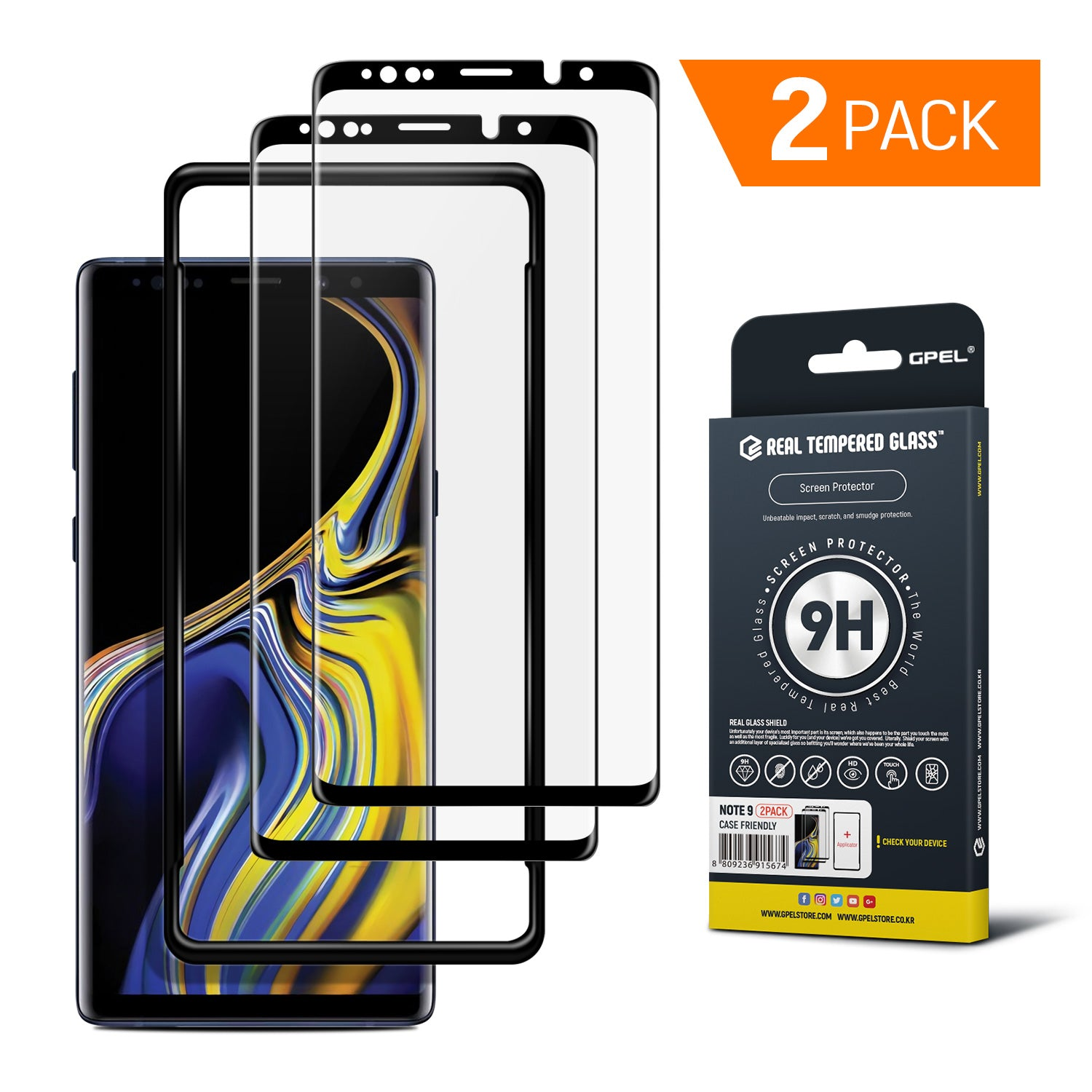 reputable site 14290 491f5 Galaxy Note 9 - Full Coverage Tempered Glass Screen Protector (2-PACK)
