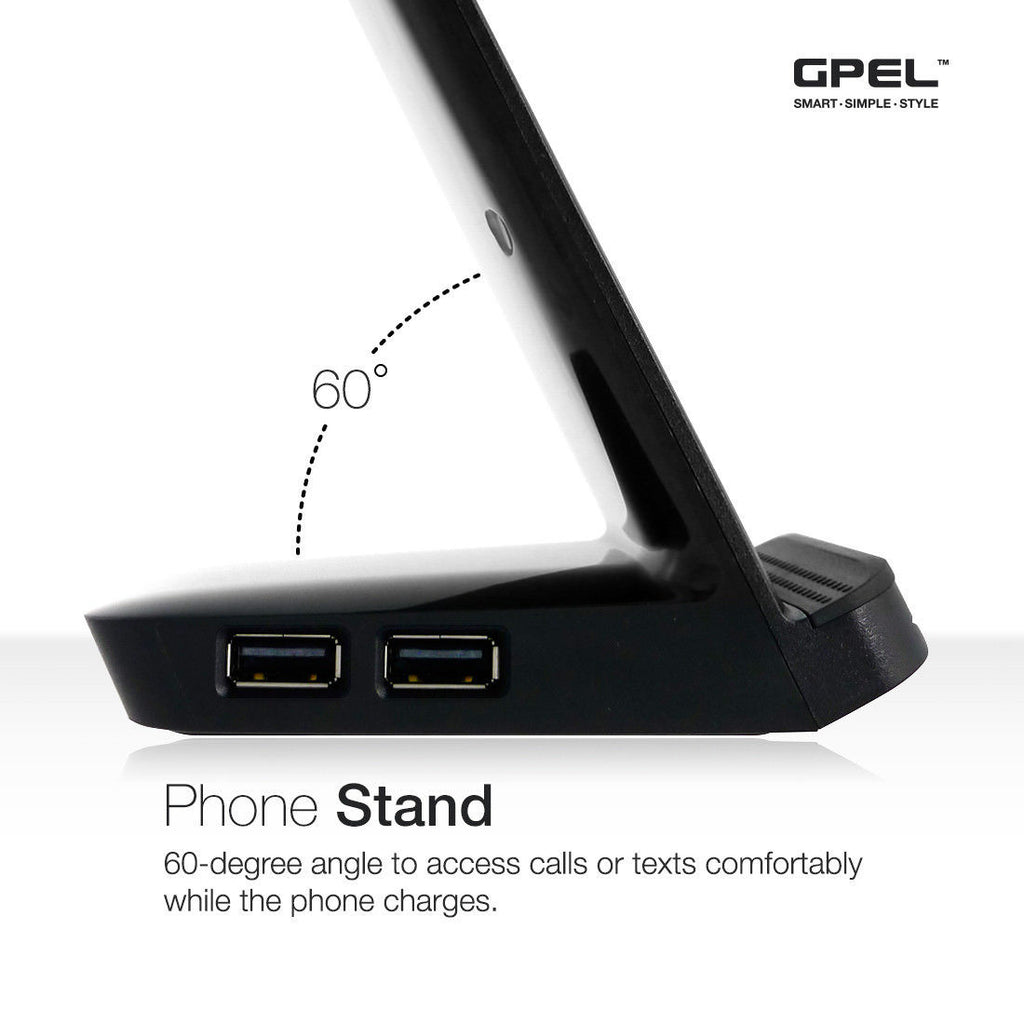 GPEL® Qi Wireless Charging Stand 3 Coil Technology with Built-in USB Hub