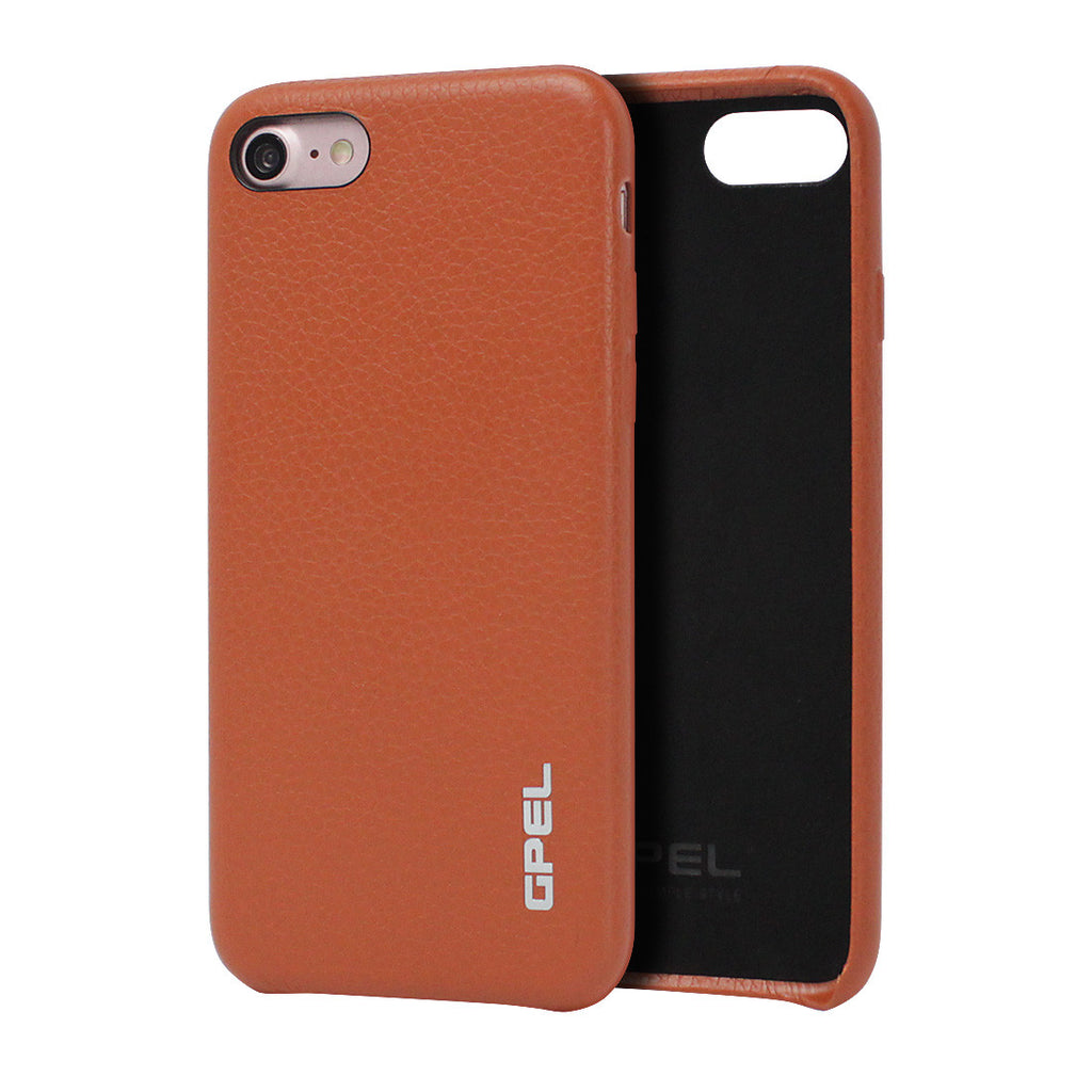 iPhone 7 Case GPEL Real Leather - Orange Brown