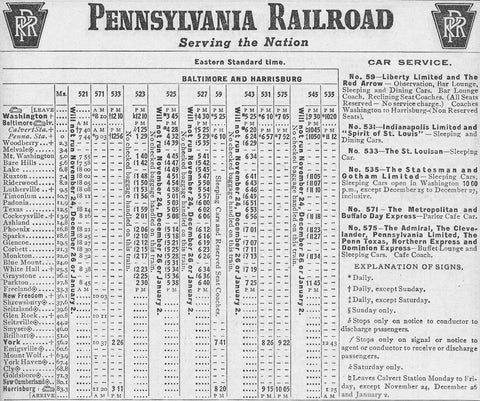 Pennsylvania Railroad time tables