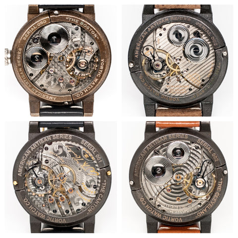 Four Vortic Watch Backs