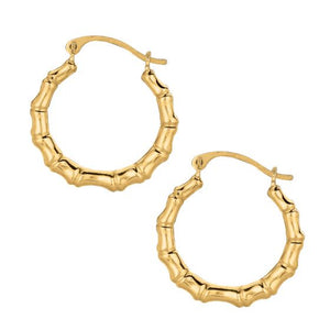 10K Gold Bamboo Round Medium Hoop Earring