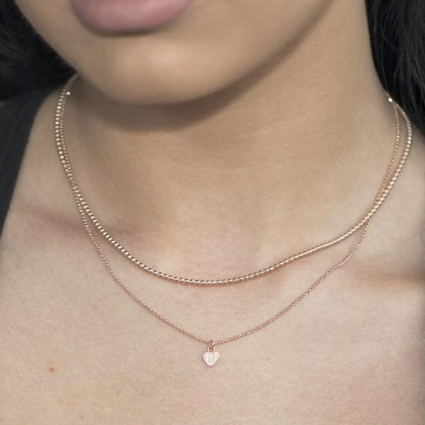 Sterling Silver Rose Gold Plated Choker Layered Necklace
