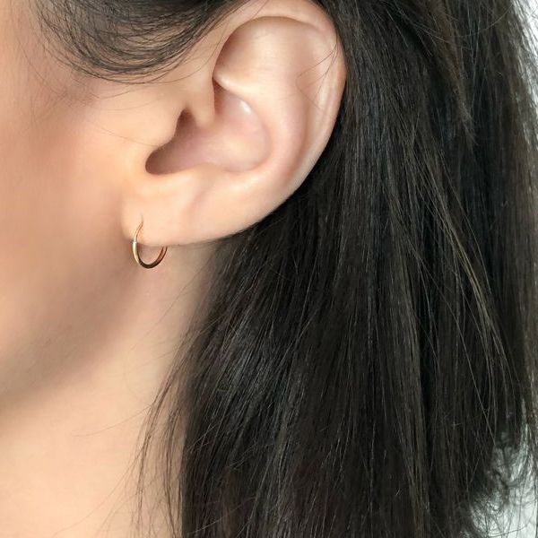 14K Gold Hoops Round Endless Mini Earrings
