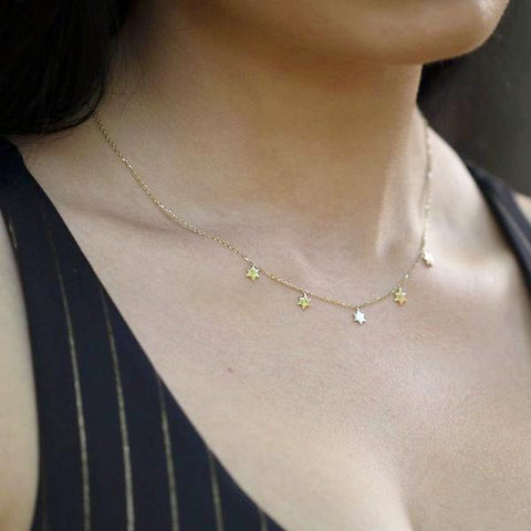 14K Yellow Gold Delicate Multi Star Charm Necklace
