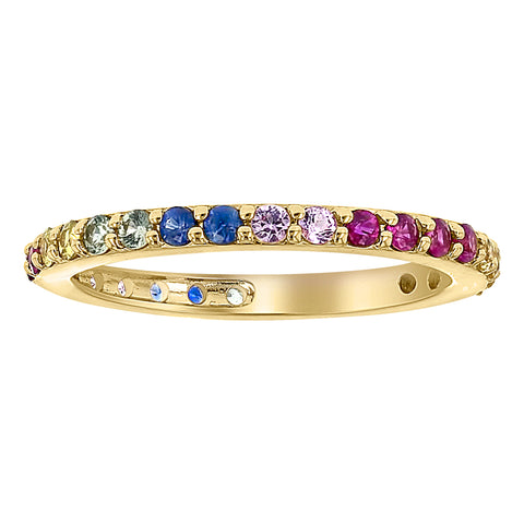 14K Yellow Gold Rainbow Gemstone Band Ring