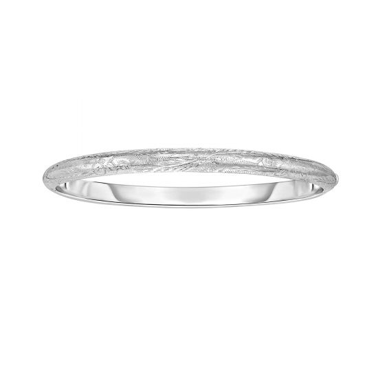 Sterling Silver Diamond Cut Hinged Bangle