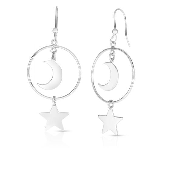 Sterling Silver Star & Moon Dangle Earrings
