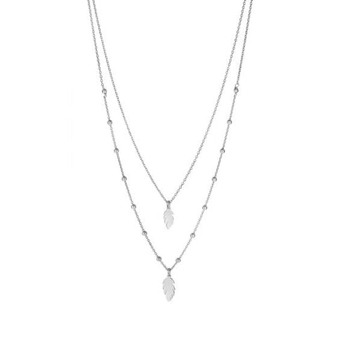 Sterling Silver Layered Feather Necklace