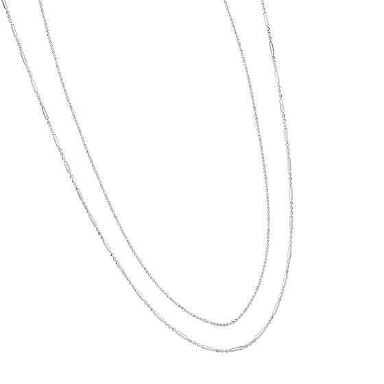 Sterling Silver Layered Multi-Strand Chain Necklace