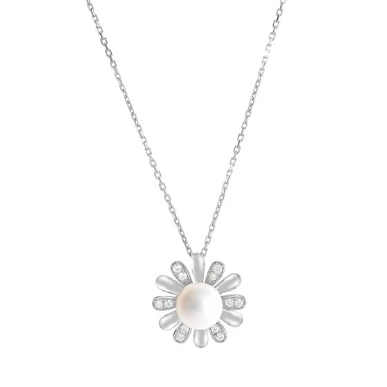 Sterling Silver CZ & Pearl Daisy Flower Pendant Necklace