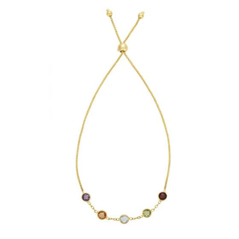 14K Yellow Gold Adjustable Rainbow Gemstone Bracelet