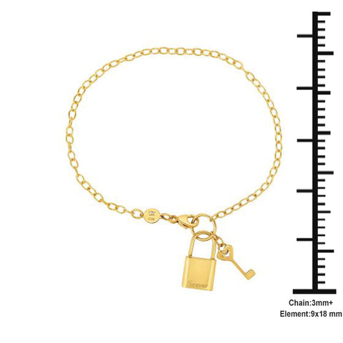 14K Yellow Gold Key & Lock Forever Love Charm Bracelet
