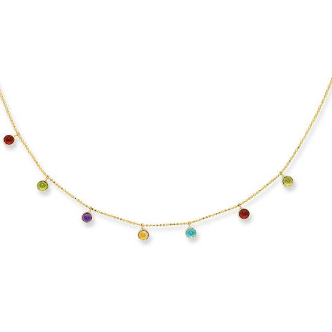 14K Gold Multi Color CZ Dangle Delicate Necklace