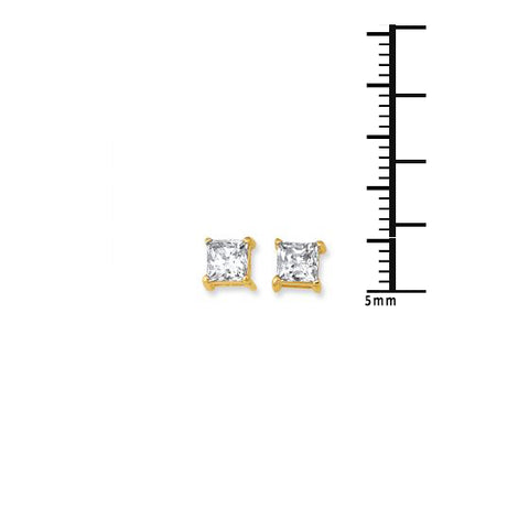 14K Gold Square Princess CZ Stud Earring