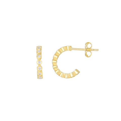 14K Gold Post Half Small Hoop Earring With 0.36 Ct Diamonds